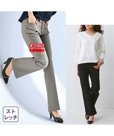 <ニッセン>すごく伸びるセミブーツカットパンツ(股下74cm) 【レディース】画像