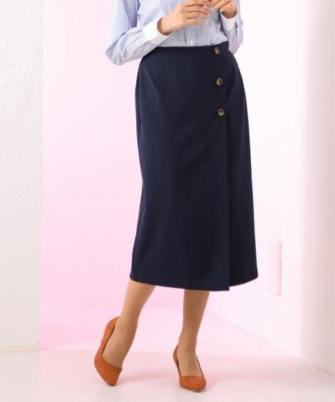 たてよこストレッチダブルクロスIラインスカート (ひざ丈スカ...