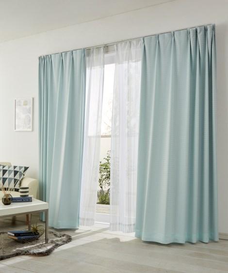 ブロック柄。遮光カーテン&ストライプレース4枚セット カーテン&レースセット, Curtains, sheer curtains, net curtains(ニッセン、nissen)