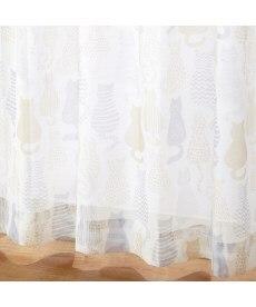 【送料無料!】シルエットネコ柄ボイルレースカーテン レースカーテン・ボイルカーテンの商品画像