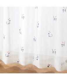 【送料無料!】カジュアルネコ柄ボイルレースカーテン ブラックフォーマルの商品画像