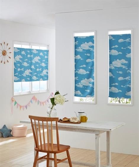 雲柄。小窓用カフェカーテン のれん・カフェカーテン...