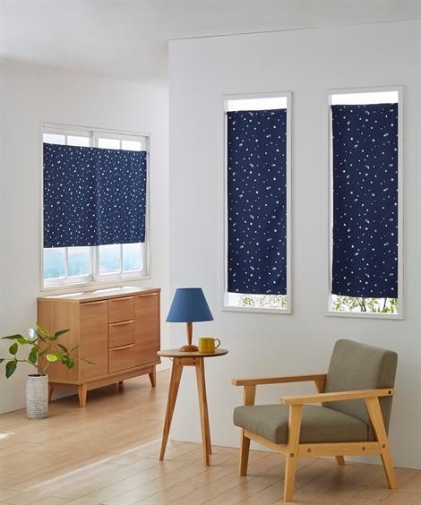 星柄箔プリント。小窓用カフェカーテン のれん・カフェカーテンの写真