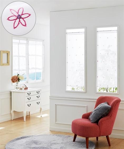 小花刺しゅう柄。小窓用カフェカーテン のれん・カフェカーテン...