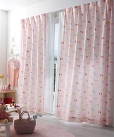 【送料無料!】リボン柄カーテン ドレープカーテン(遮光あり・なし)の小イメージ
