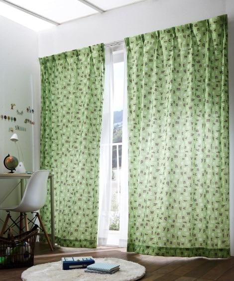 【送料無料!】アルファベット柄カーテン 遮光なしカーテン...