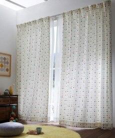【送料無料!】手書きタッチドット柄カーテン 遮光なしカーテンの小イメージ