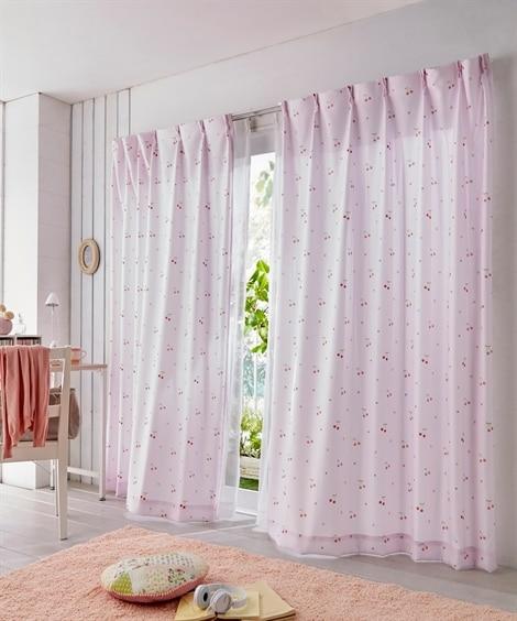 【送料無料!】サクランボ柄カーテン 遮光なしカーテン