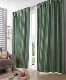【送料無料!】ストライプ調。遮光カーテン ドレープカーテン(遮光あり・なし)の商品画像