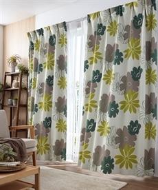 送料無料!<ニッセン>フラワー柄遮光カーテン ドレープカーテン(遮光あり・なし) 1