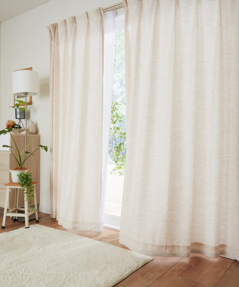 送料無料!<ニッセン>ナチュラル刺繍カーテン ドレープカーテン(遮光あり・なし)