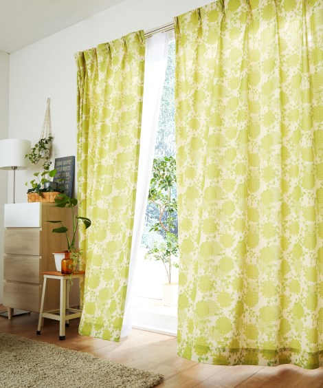 【送料無料!】色鮮やかなフラワー柄カーテン 遮光なしカーテン...