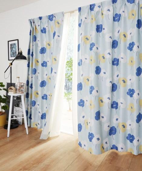 【送料無料!】北欧調フラワー柄遮光カーテン 遮光カーテン