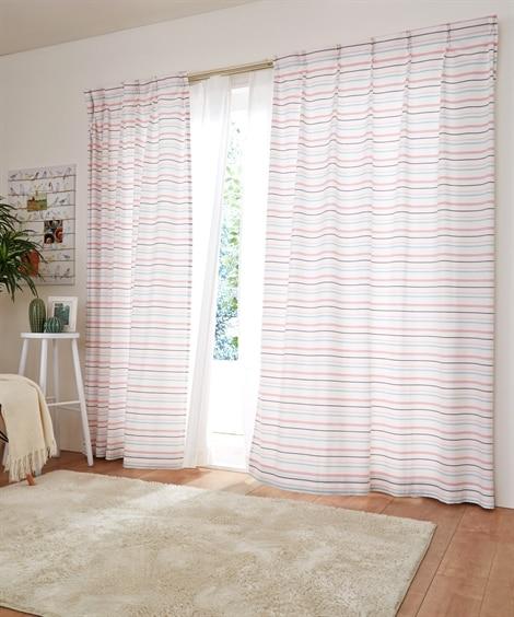 【送料無料!】キラキラ刺繍ボーダー柄カーテン 遮光なしカーテ...