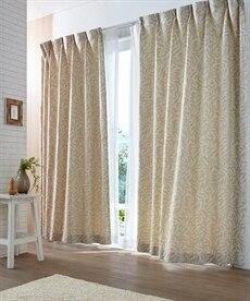 【送料無料!】立体感のあるリーフ柄カーテン ドレープカーテン(遮光あり・なし)の商品画像
