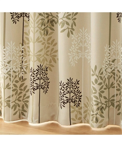 【送料無料!】お部屋に合わせやすいシルエットリーフ柄1級遮光カーテン&レースセット カーテン&レースセット, Curtains, sheer curtains, net curtains(ニッセン、nissen)