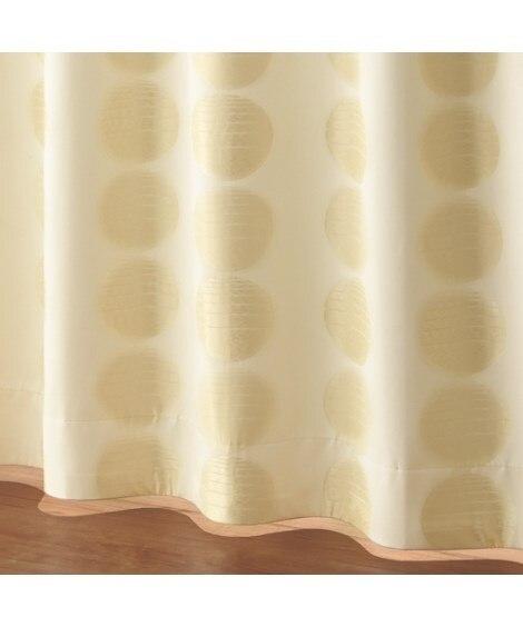 <ニッセン>【送料無料!】ドット柄ジャカード織遮熱。防音。99.99%遮光カーテン 遮光カーテン