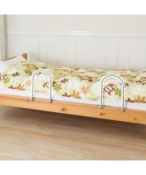 簡単ベッドサイドガード2個組 ベッド・マットレス...