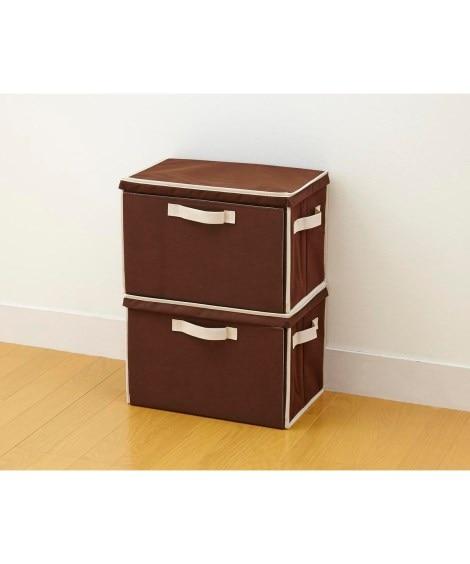 重ねて使える整理箱2個セット 衣類収納袋・圧縮袋...