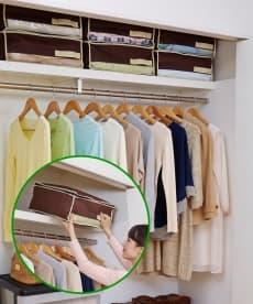 炭入り消臭クローゼット上収納 衣類カバー・圧縮袋の小イメージ