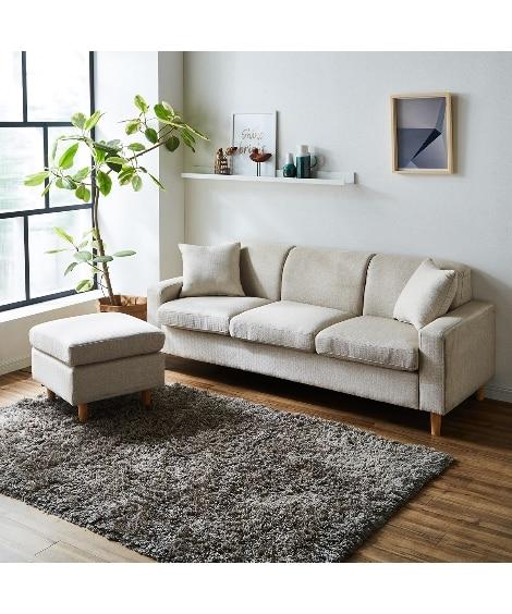 カラーが選べるオットマン付3人掛けソファー ソファーと題した写真