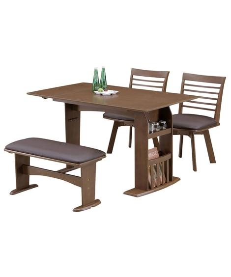 バタフライ天板の収納ラック付きダイニング4点セット ダイニングテーブルセット, Tables(ニッセン、nissen)