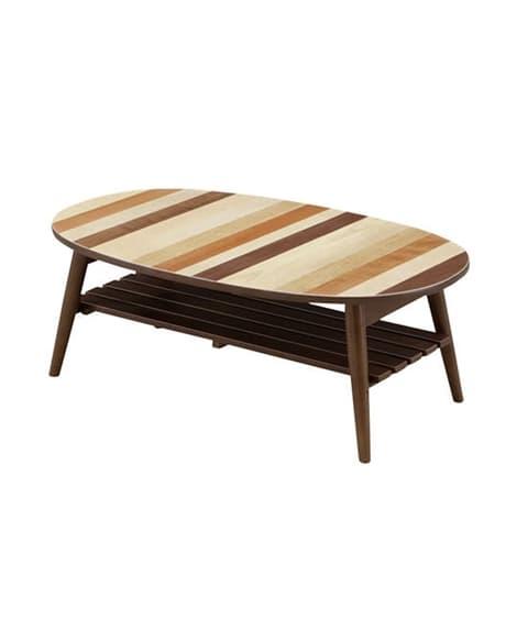 ミックスウッドの棚付き折りたたみテーブル ローテーブル・リビ...