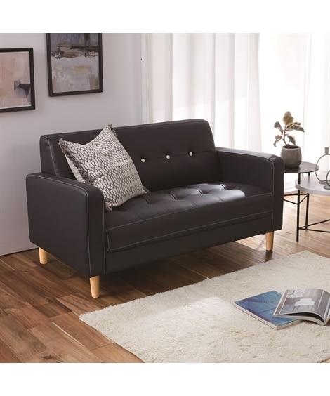 丸ボタンが可愛いコンパクト合皮ソファー ソファー...