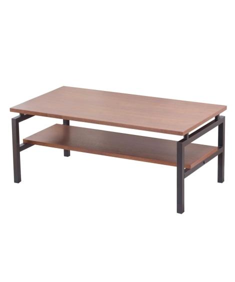 ウォールナット突板の棚付きローテーブル ローテーブル・リビン...