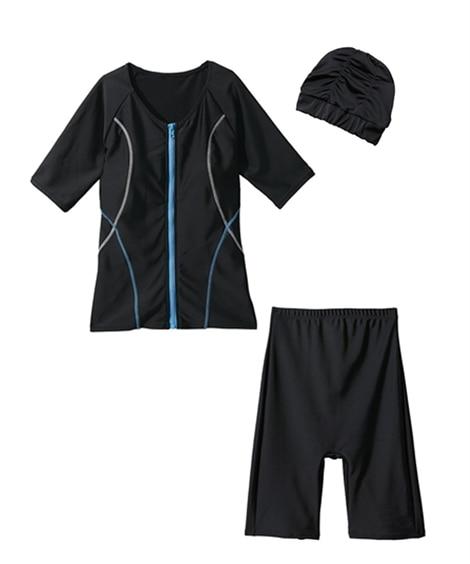 キャップ付半袖フィットネス水着3点セット 【レディース水着】Swimsuit