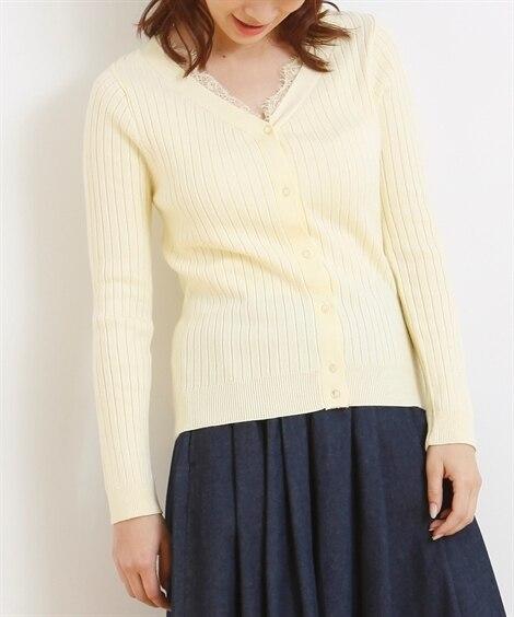 <ニッセン> レーストリミングリブ編ニットカーディガン (ニット・セーター)(レディース)Knitting