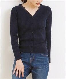 <ニッセン> レーストリミングリブ編ニットカーディガン (ニット・セーター)(レディース)Knitting 2