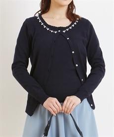<ニッセン> ツインニット(ビジュー付カーディガン+半袖セーター) (ニット・セーター)(レディース)Knitting 1