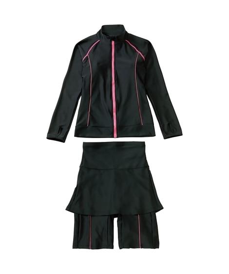 UV長袖トップス&スカート付ボトム水着2点セット フィットネ...