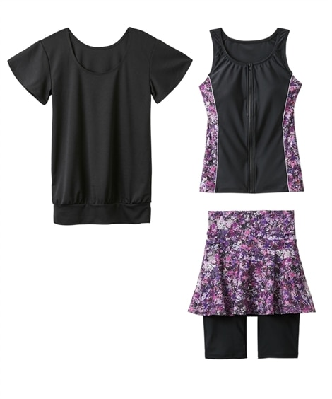 UVTシャツ付フィットネス水着3点セット 【レディース水着】Swimsuit