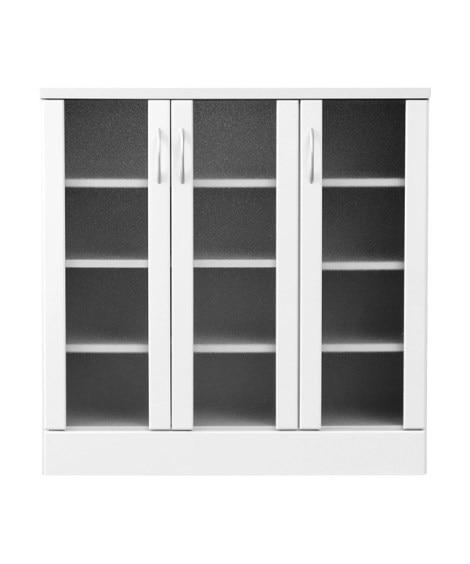 【荷造送料0円実施中】鏡面仕上げキッチンキャビネット 食器棚...