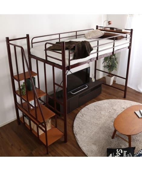 高さ2段階調整できる階段付ロフトベッド ロフトベッド・2段ベ...