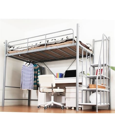 【荷造送料0円実施中】高さ2段階調整できる階段付ロフトベッド...
