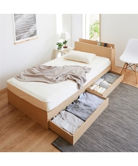 棚。引き出し付デザインベッド 収納付きベッド(ニッセン家具)