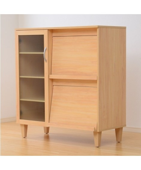 隠して飾れる木製フラップ扉キッチン収納 食器棚, Cupbo...