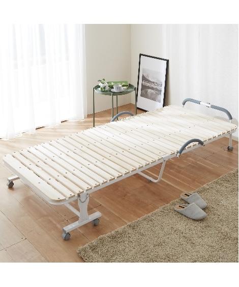 折りたたみ桐すのこベッド 折りたたみベッド・リクライニングベ...