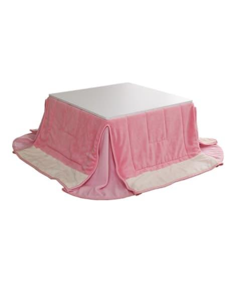 ホワイト×ピンクの組み合わせが可愛い布団付こたつセット ロー...