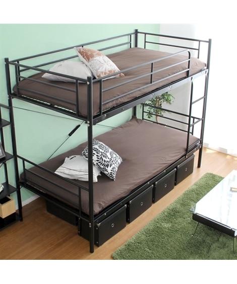 分割できる極太パイプ2段ベッド ロフトベッド・2段ベッド, ...