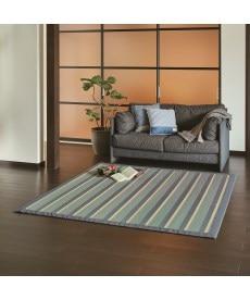 デニム調ストライプ柄竹ラグ 畳・い草・天然素材の商品画像