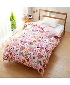 【日本製】綿100%プリント掛け布団カバー(コラージュ風フラワー柄) 掛け布団カバーの商品画像