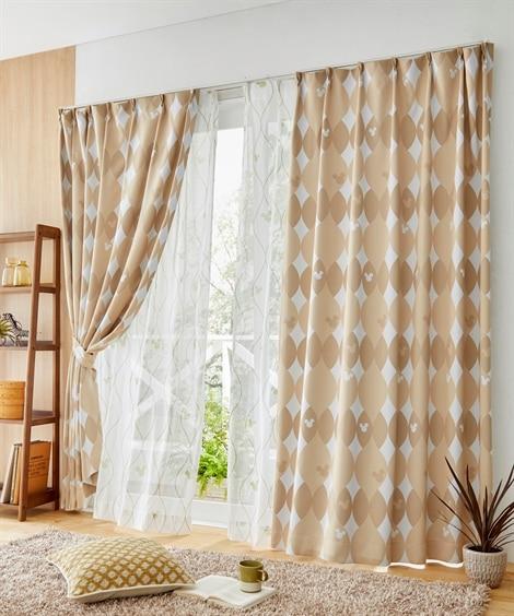 2020年9月新着!<ニッセン>【ディズニー】 遮光カーテン&レース4枚セット(ミッキー) カーテン&レースセット Curtains sheer curtains net curtains(ニッセン、nissen)