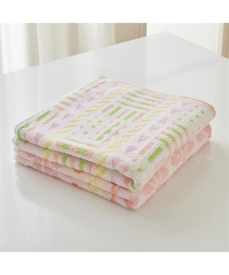 女性にちょうどいい大きさのミニバスタオル 柄違い2枚セット 100cm丈 バスタオル, Towels(ニッセン、nissen)