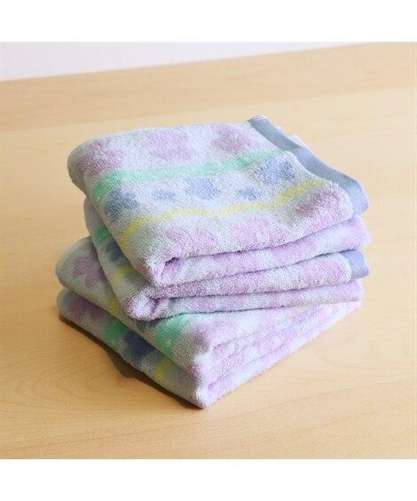 パステルな花柄がかわいいフェイスタオル同色4枚セット フェイスタオル, Towels(ニッセン、nissen)