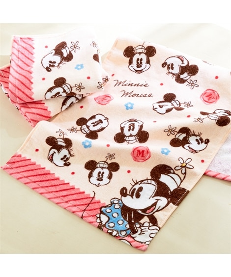 ディズニー レトロなデザインのフェイスタオル同柄3枚セット(ミニーマウス) フェイスタオル, Towels(ニッセン、nissen)