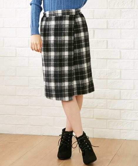 <ニッセン> 裾レースツイード調フレアスカート (ひざ丈スカート) 3